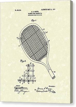 Tennis Racket 1907 Patent Art Canvas Print by Prior Art Design