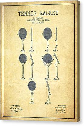 Tennis Racket Patent From 1886 - Vintage Canvas Print by Aged Pixel
