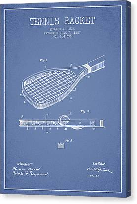 Tennis Racket Patent From 1887 - Light Blue Canvas Print by Aged Pixel