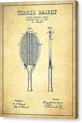 Tennis Racket Patent From 1907 - Vintage Canvas Print by Aged Pixel