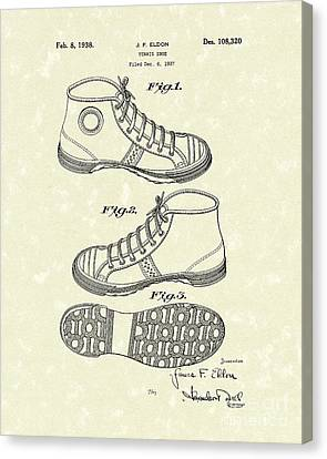 Tennis Shoe 1938 Patent Art Canvas Print by Prior Art Design