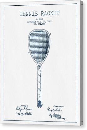 Tennnis Racket Patent Drawing From 1887 -  Blue Ink Canvas Print by Aged Pixel