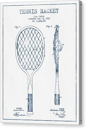 Tennnis Racketl Patent Drawing From 1921 -  Blue Ink Canvas Print by Aged Pixel