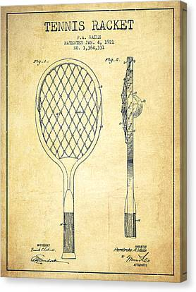 Tennnis Racketl Patent Drawing From 1921 - Vintage Canvas Print by Aged Pixel