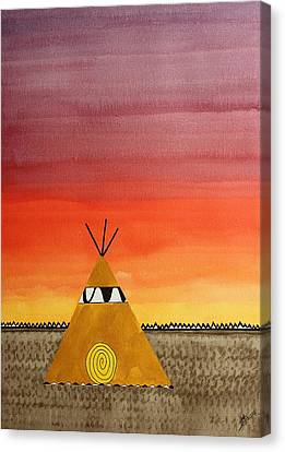Tepee Or Not Tepee Original Painting Canvas Print by Sol Luckman