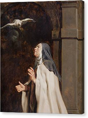 Teresa Of Avilas Vision Of A Dove Canvas Print by Peter Paul Rubens