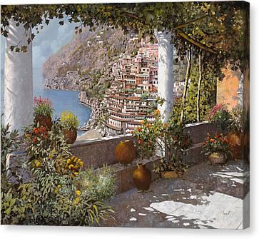 terrazza a Positano Canvas Print by Guido Borelli