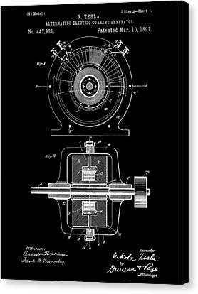 Tesla Alternating Electric Current Generator Patent 1891 - Black Canvas Print by Stephen Younts