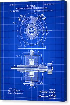 Tesla Alternating Electric Current Generator Patent 1891 - Blue Canvas Print by Stephen Younts