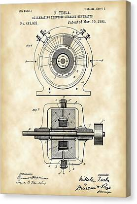 Tesla Alternating Electric Current Generator Patent 1891 - Vintage Canvas Print by Stephen Younts