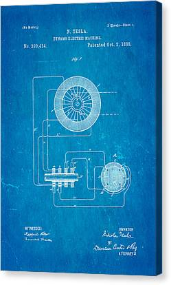 Tesla Electric Dynamo Patent Art 1888 Blueprint Canvas Print by Ian Monk