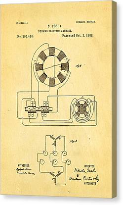 Tesla Electric Dynamo Patent Art 2 1888 Canvas Print by Ian Monk