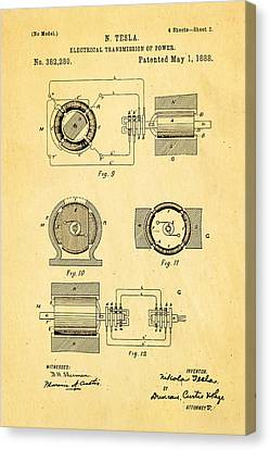 Tesla Electrical Transmission Of Power Patent Art 2 1888 Canvas Print by Ian Monk