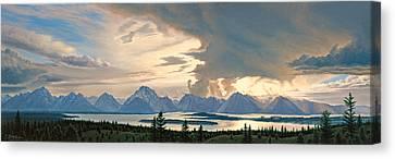 Teton Range From Signal Mountain Canvas Print by Paul Krapf