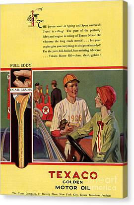 Texaco 1926 1920s Usa Cc  Baseball  Oil Canvas Print by The Advertising Archives