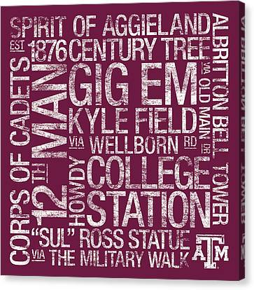 Texas Am College Colors Subway Art Canvas Print by Replay Photos