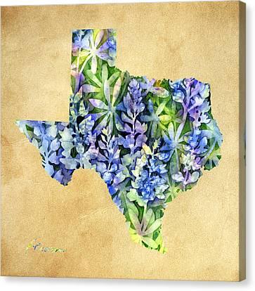 Texas Blues Texas Map Canvas Print by Hailey E Herrera
