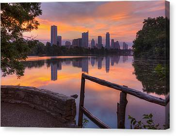 Texas Images - Lou Neff Point And The Austin Skyline Canvas Print by Rob Greebon
