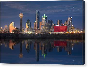 Texas Images - The Dallas Skyline Reflected In The Trinity River Canvas Print by Rob Greebon