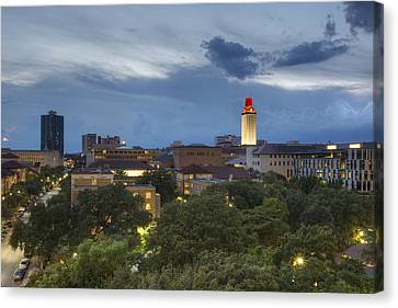 The University Of Texas Tower As Storms Move Into Austin Texas Canvas Print by Rob Greebon