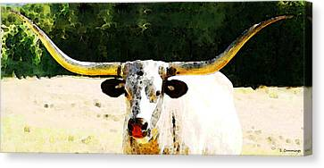 Texas Longhorn - Bull Cow Canvas Print by Sharon Cummings