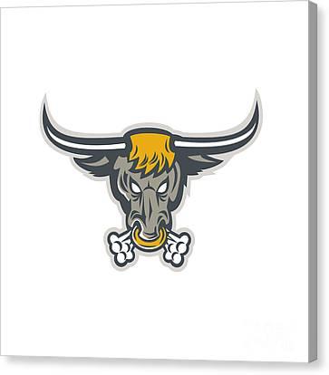 Texas Longhorn Bull Head Front Canvas Print by Aloysius Patrimonio