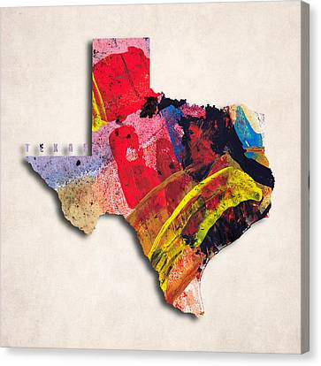 Texas Map Art - Painted Map Of Texas Canvas Print by World Art Prints And Designs