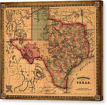 Texas Map Art - Vintage Antique Map Of Texas Canvas Print by World Art Prints And Designs