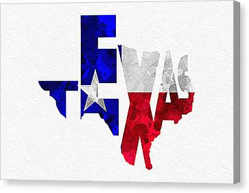 Texas Typographic Map Flag Canvas Print by Ayse Deniz