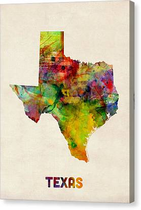 Texas Watercolor Map Canvas Print by Michael Tompsett
