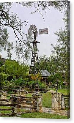 Texas Wooden Windmill Canvas Print by Linda Phelps