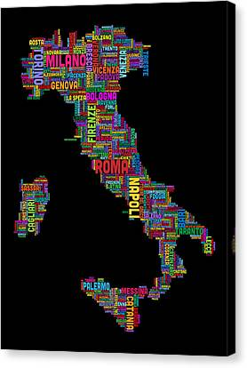 Text Map Of Italy Map Canvas Print by Michael Tompsett