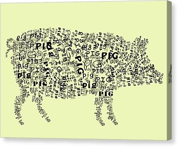 Text Pig Canvas Print by Heather Applegate