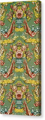 Textile With A Repeating Floral Motif, Lyon Workshop, Circa 1730 Silk Brocade Canvas Print by French School