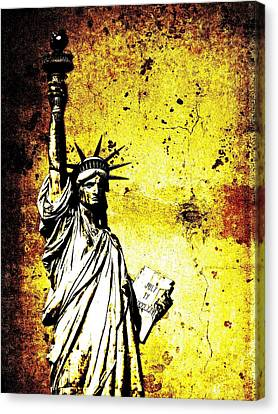 Textured Statue Of Liberty Canvas Print by Dan Sproul