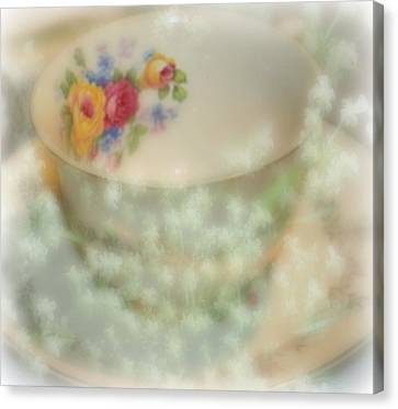 Textured Tea Cup Canvas Print by Barbara S Nickerson