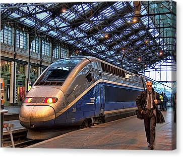 Tgv At The Train Station  Canvas Print by Paris  France