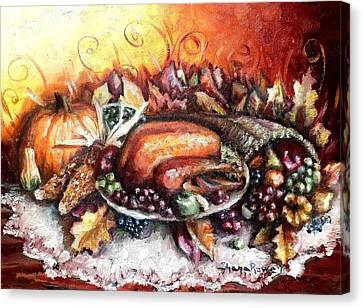 Thanksgiving Dinner Canvas Print by Shana Rowe Jackson