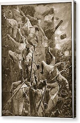 The 5th Division Storming By Escalade Canvas Print by William Barnes Wollen