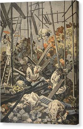 The Accident At Chesnay, Illustration Canvas Print by French School