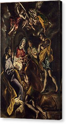 The Adoration Of The Shepherds Canvas Print by El Greco and Workshop