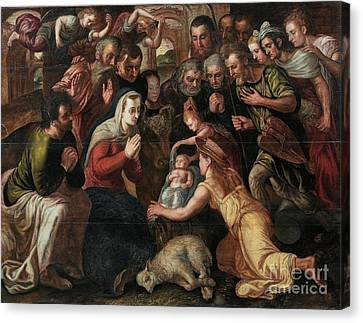 The Adoration Of The Shepherds Canvas Print by Celestial Images