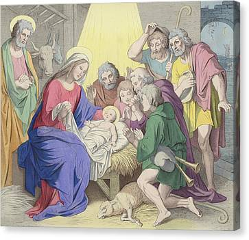 The Adoration Of The Shepherds Canvas Print by German School