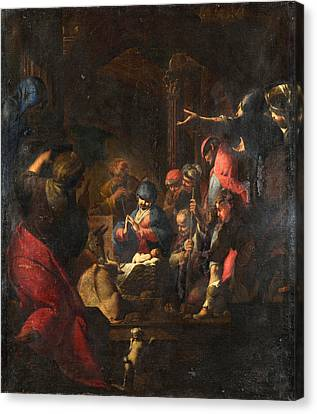 The Adoration Of The Shepherds Canvas Print by Giovanni Battista Spinelli