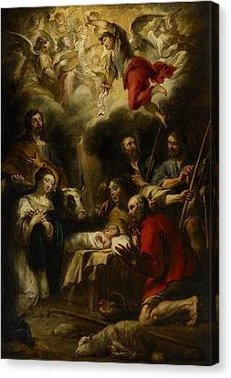 The Adoration Of The Shepherds Canvas Print by Jan Cossiers