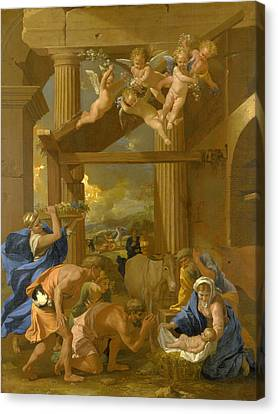The Adoration Of The Shepherds Canvas Print by Nicolas Poussin