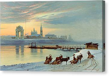 The Angara Embankment In Irkutsk Canvas Print by Nikolai Florianovich Dobrovolsky