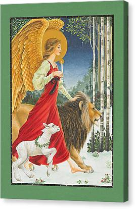 The Angel The Lion And The Lamb Canvas Print by Lynn Bywaters