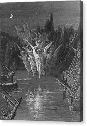 The Angelic Spirits Leave The Dead Bodies And Appear In Their Own Forms Of Light Canvas Print by Gustave Dore