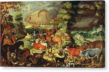 The Animals Entering The Ark Canvas Print by Jacob II Savery